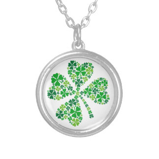 lucky four-leaf clover, green shamrock leaves personalized necklace