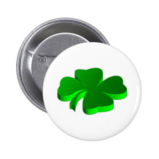 Lucky Four Leaf Clover Green Symbol Good Luck 2 Inch Round Button