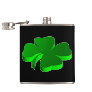 Lucky Four Leaf Clover Green Symbol Good Luck Hip Flask