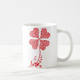 Lucky Four Leaf Clover Heart Valentine Flower Coffee Mug
