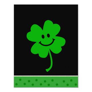 """Lucky four leaf clover smiley face 4.25"""" x 5.5"""" invitation card"""