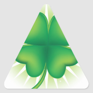 Lucky Four Leaf Clover Triangle Sticker
