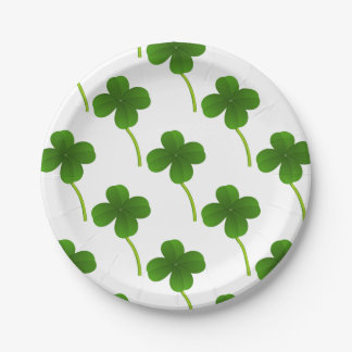 Lucky Four Leaf Clovers Paper Plate