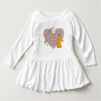 Lucky Golden Bunny Toddler Ruffle Dress