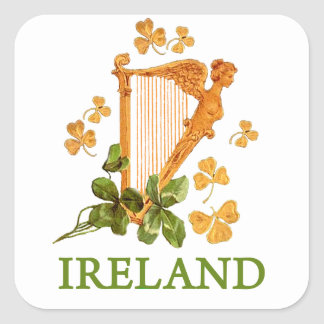 Lucky Golden Harp of Ireland Square Sticker