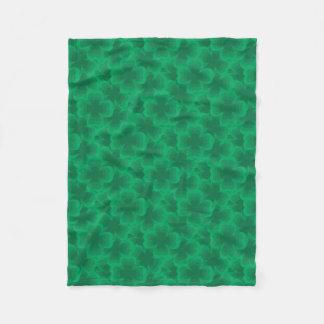 Lucky Green 4-Leaf Clover Irish Spring Clovers Fleece Blanket