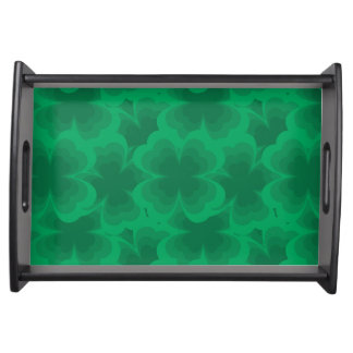 Lucky Green 4-Leaf Clover Irish Spring Clovers Serving Tray