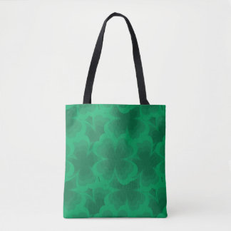Lucky Green 4-Leaf Clover Irish Spring Clovers Tote Bag