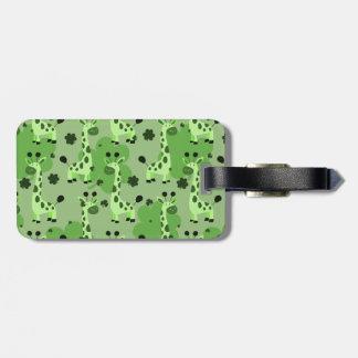 Lucky Green Giraffe Pattern Luggage Tag