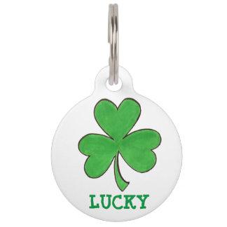 Lucky Green Irish Shamrock Clover St. Paddy's Day Pet ID Tag