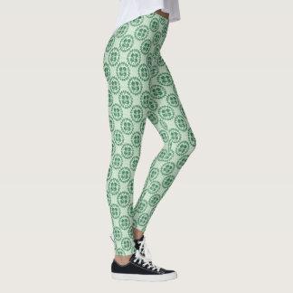 Lucky Green Kanji Shamrock Pattern Leggings