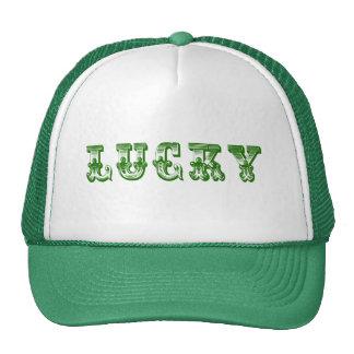 Lucky-Green Retro Fancy Text Design 3 Trucker Hat