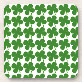 Lucky Green Shamrock Drink Coasters