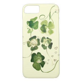 LUCKY GREEN SHAMROCK LADIES WITH HEARTS MONOGRAM iPhone 8/7 CASE