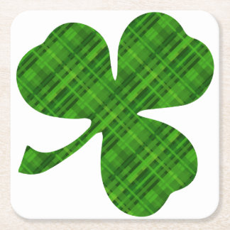 Lucky Green Shamrock Square Coasters