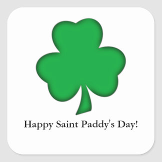 Lucky Green Shamrock Square Sticker