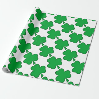 Lucky Green Shamrock Wrapping Paper