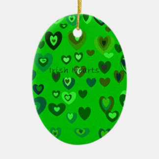 Lucky Hearts St Patrick's Day Gift collection Ceramic Oval Ornament