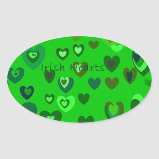 Lucky Hearts St Patrick's Day Gift collection Oval Sticker
