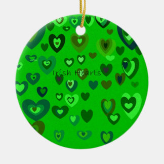 Lucky Hearts St Patrick's Day Gift collection Round Ceramic Ornament