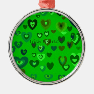 Lucky Hearts St Patrick's Day Gift collection Silver-Colored Round Ornament