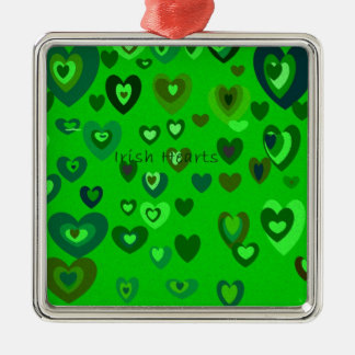 Lucky Hearts St Patrick's Day Gift collection Silver-Colored Square Ornament