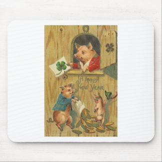 lucky horse shoe and pigs mouse pad