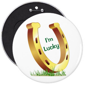 Lucky Horseshoe 6 Inch Round Button