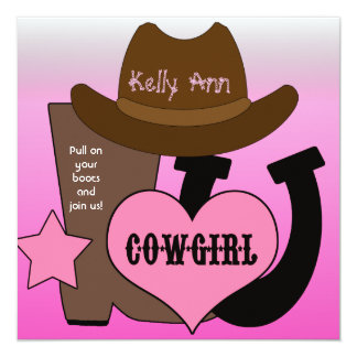 Lucky Horseshoe Cowgirl Birthday Invitation