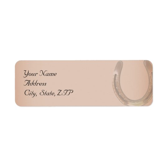 Lucky Horseshoe on Brown Leather Return Address Label