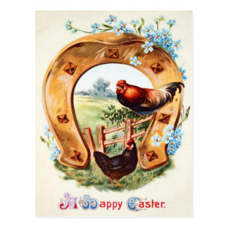 Lucky Horseshoe Rooster Forget Me Not Postcard