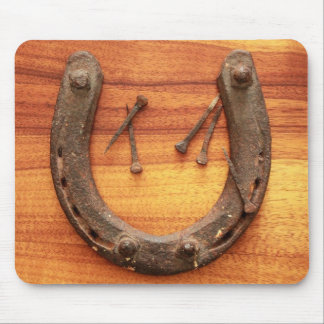 Lucky Horseshoe with Nails Mouse Pad