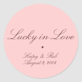 Lucky in Love and Pretty in Pink Classic Round Sticker