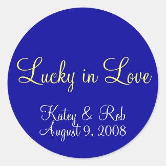 Lucky in Love Classic Round Sticker