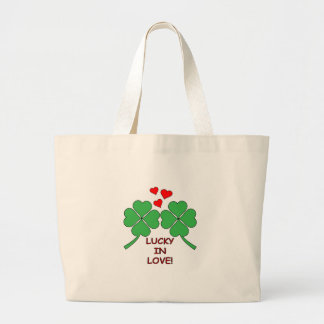 Lucky In Love Hearts Clover Large Tote Bag