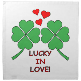 Lucky In Love Hearts Clover Napkin