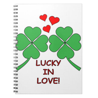 Lucky In Love Hearts Clover Notebook