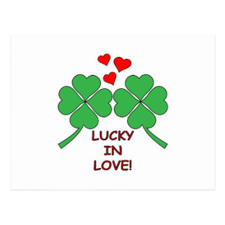 Lucky In Love Hearts Clover Postcard