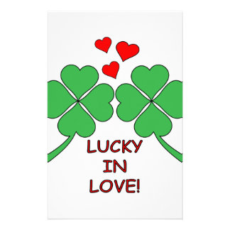 Lucky In Love Hearts Clover Stationery