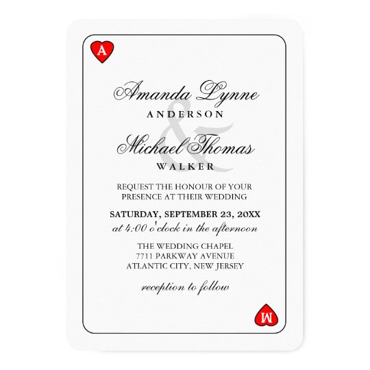 Lucky in Love - Hearts Playing Card Wed Invitation