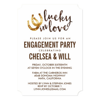 Lucky in Love Horseshoe Engagement Party Card