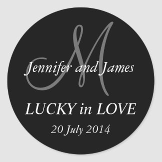 Lucky in Love Monogram M Sticker Wedding Sticker