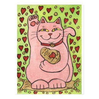 Lucky in Love: Pink Neko with Hearts Postcard