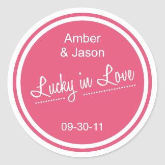 Lucky in Love Round Sticker - Watermelon