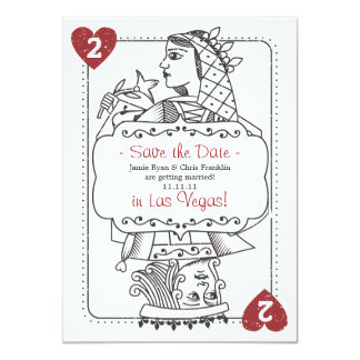 "Lucky in Love Save the Date - 2 of Hearts 4.5"" X 6.25"" Invitation Card"