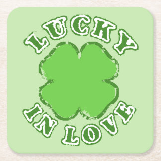 Lucky in Love Square Paper Coaster