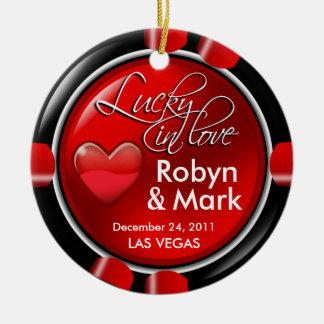 Lucky in Love Vegas Newlyweds Casino Chip Round Ceramic Ornament