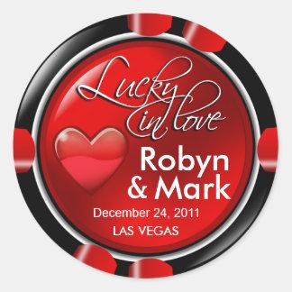 Lucky in Love Vegas Newlyweds Casino Chip Round Sticker