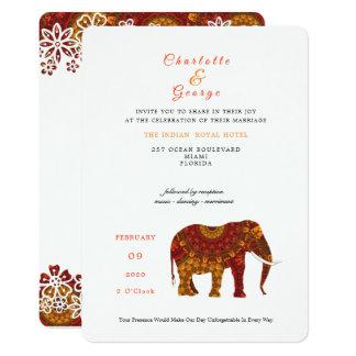 Lucky Indian Elephant Elegant Lace Wedding Invite