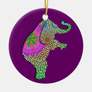 Lucky Indian Elephant in Rainbow Colors Ceramic Ornament